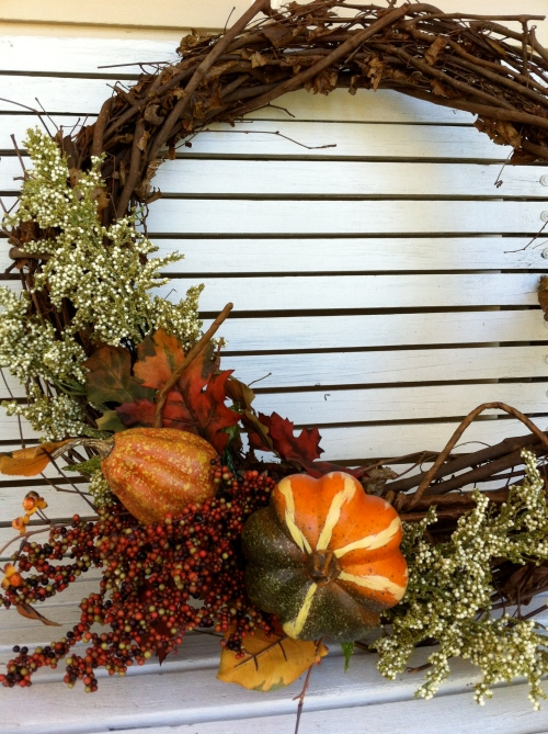 hot glue festive items to wreath and...Hello Fall, come on in!