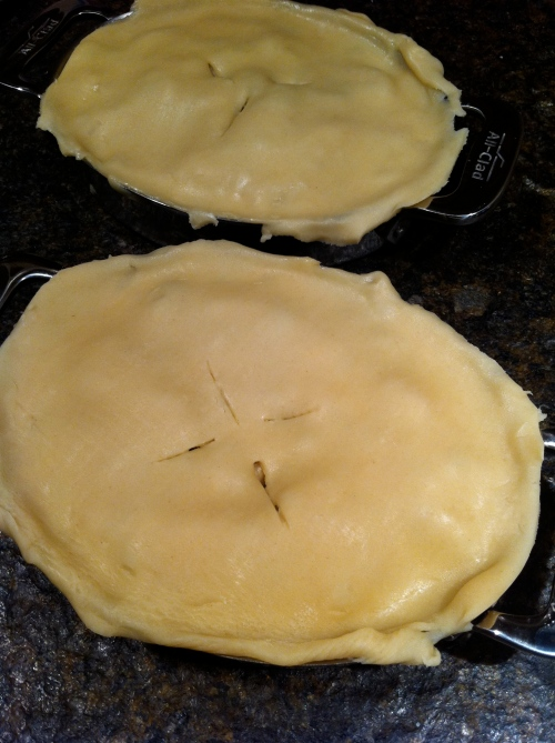 pot pies ready for the oven (be sure to poke holes in the top)