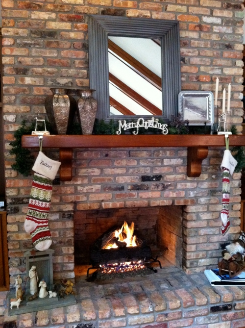 Fireplace with stockings.