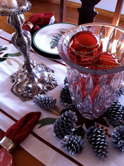 Silver pine cones again as centerpiece on dining room table.