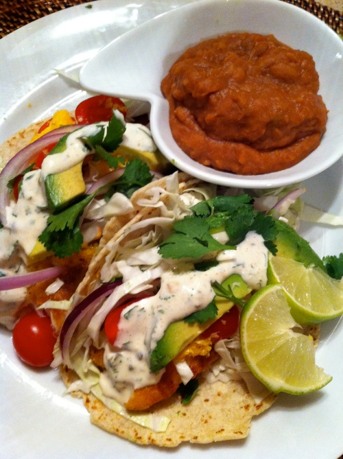 Yum, yum, yum.  Fresh California (Baja) Style Fish Tacos.
